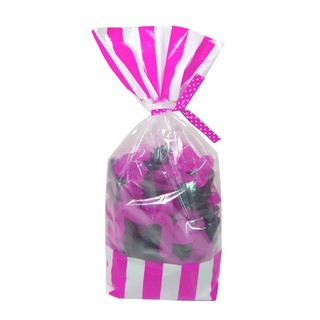 Cello Loot Lolly Bags - 24pcs - Stripes - Pink