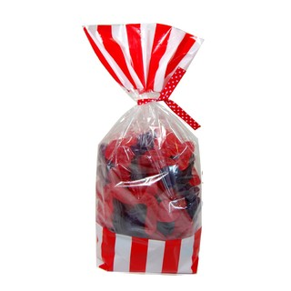 Cello Loot Lolly Bags - 24pcs - Stripes - Red