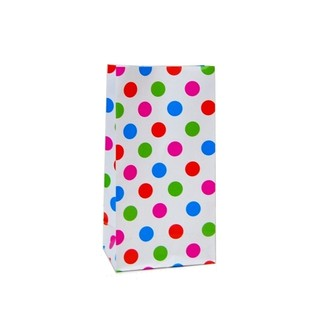Paper Party Loot Bags - Multi Spots White
