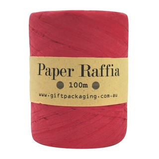 Paper Raffia - 4mm x 100metres - Red