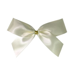Satin Bow With Bottle Loop - 10cm - Ivory - 50pk