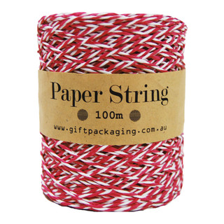 Paper Twine - 2mm x 100metres - Red/White Paper String