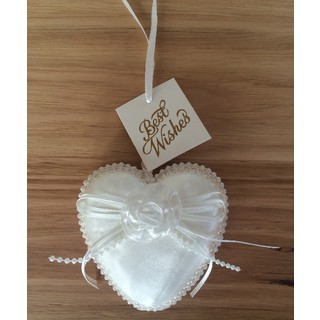 White Satin Wedding Heart with Flower and Bow Detail
