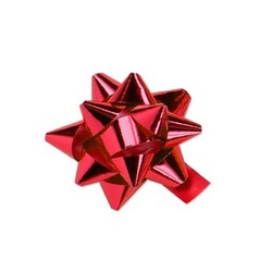 Mini Star Bows - 5cm - Metallic Red