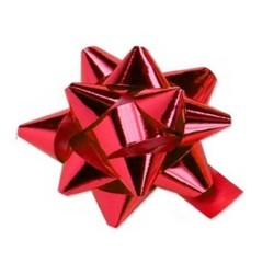 Star Gift Bows - 9cm - Metallic Red