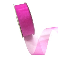 Sheer Organza Cut Edge Ribbon - 25mm x 50m - Rosebloom Hot Pink