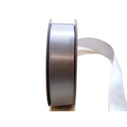 Satin Ribbon - Woven Edge -25mm x 30m - Silver