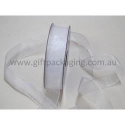 Sheer Organza Woven Edge - 25mm x 25m - White