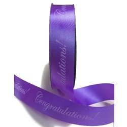 Printed Florist Tear Ribbon - 30mm x 91M - Congratulations! - Voilet Purple
