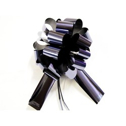 12 x Pull String Pom Pom Bow - Metallic Black
