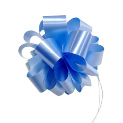 12 x Pull String Pom Pom Bow - Light Blue