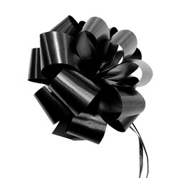 12 x Pull String Pom Pom Bow - Black