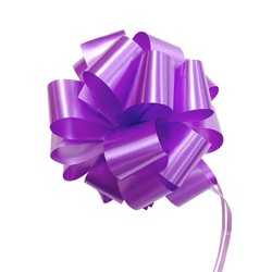 12 x Pull String Pom Pom Bow - Purple