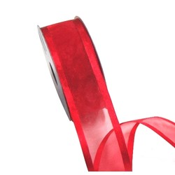 Sheer Organza Satin Edge Ribbon - 38mm x 25m - Red