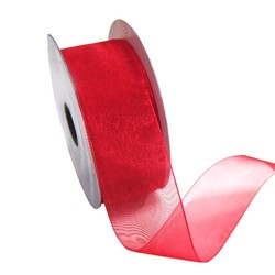 Sheer Organza Woven Edge - 38mm x 25m - Red