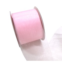 Sheer Organza Cut Edge Ribbon - 50mm x 25m - Light Pink