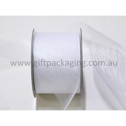 Sheer Organza Cut Edge Ribbon - 50mm x 25m - White