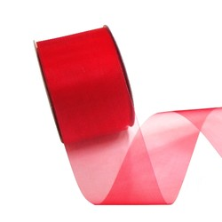 Sheer Organza Cut Edge Ribbon - 50mm x 25m - Red