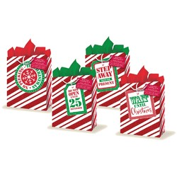 Christmas Bags with Glitter PLUS Tissue Paper - Small to Medium
