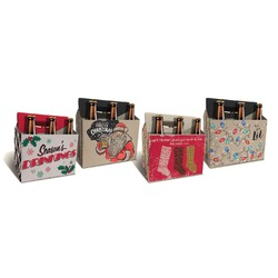 Christmas Beer Bottle Carriers - Holds 6 Beers