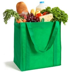 Non Woven Bags - Reusable Green Shopping Bag - 32cm (W) x 34cm (H) x 23cm (D) - Green