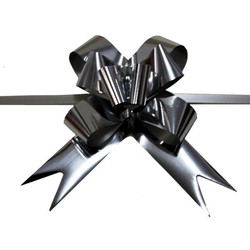 Pull String Butterfly Bows - Metallic Silver