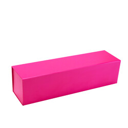 Single Wine Bottle Gift Box - Matt Hot Pink with Magnetic Closing Lid