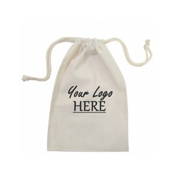Custom Printed Calico Bags 20cm x 30cm with drawstrings - Your Logo with 1 Colour, 1 side