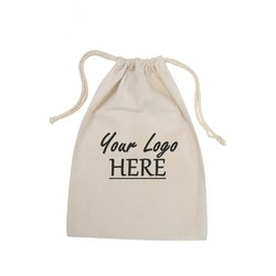 Custom Printed Calico Bags 25cm x 35cm with drawstrings - Your Logo