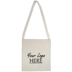 Custom Printed Calico Bags 38cm x 42cm with shoulder strap handle - Your Logo with 1 Colour, 1 side