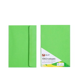 Lime Green C6 Envelopes - Pack of 25 - 80gsm by Quill