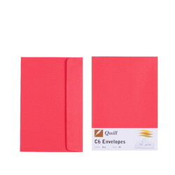 Red C6 Envelopes - Pack of 25 - 80gsm by Quill