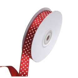 Dots Ribbon - 15mm x 25M - Red with white spots