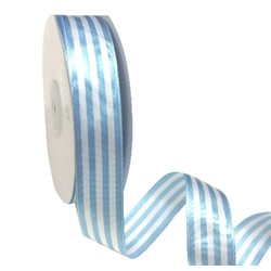 Blue and White Stripe Ribbon - 25mm x 25M