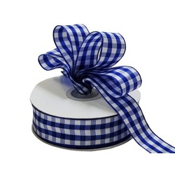 Gingham Ribbon - 25mm x 25m - Blue