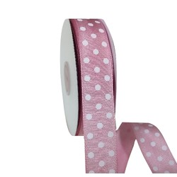 Pink Grosgrain with White Dots Ribbon - 25mm x 25M