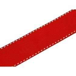 Grosgrain Ribbon  - 25mm x 25M - Red with white stitch