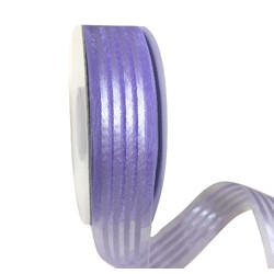Purple Organza with Satin Stripes Ribbon - 25mm x 25M