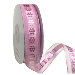 Pink Organza with Floal Middle and Satin Edge Ribbon - 25mm x 25M