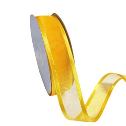 Gold Organza Ribbon with Satin Edge - 25mm x 25m