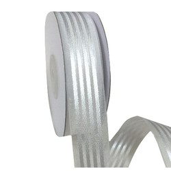 White Organza with Satin Stripes Ribbon - 25mm x 25M