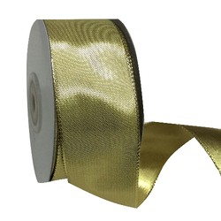 Gold Metallic Ribbon with Wire Edge - 38mm x 25M