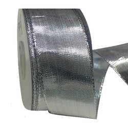 Silver Metallic Ribbon With Wire Edge - 38mm x 25M