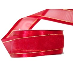 Red Satin Edge Sheer Organza With Gold Trim Ribbon - 38mm x 25M