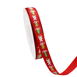 Red Grosgrain Ribbon with Christmas Presents 12mm x 25M