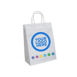 Custom Printed - Kraft Bags - Medium - White