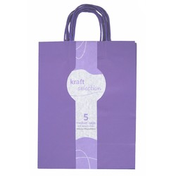 Medium Kraft Gift Bags - 5 Pack Purple