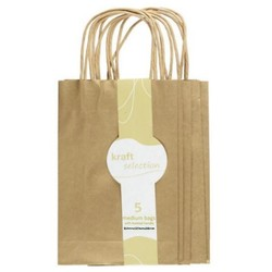 Medium Kraft Gift Bags - 5 Pack Metallic Gold