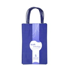 Small Kraft Gift Bags - 5 Pack Blue