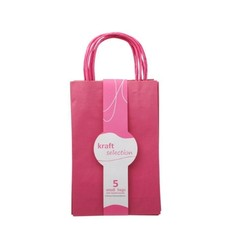 Small Kraft Gift Bags - 5 Pack Pink